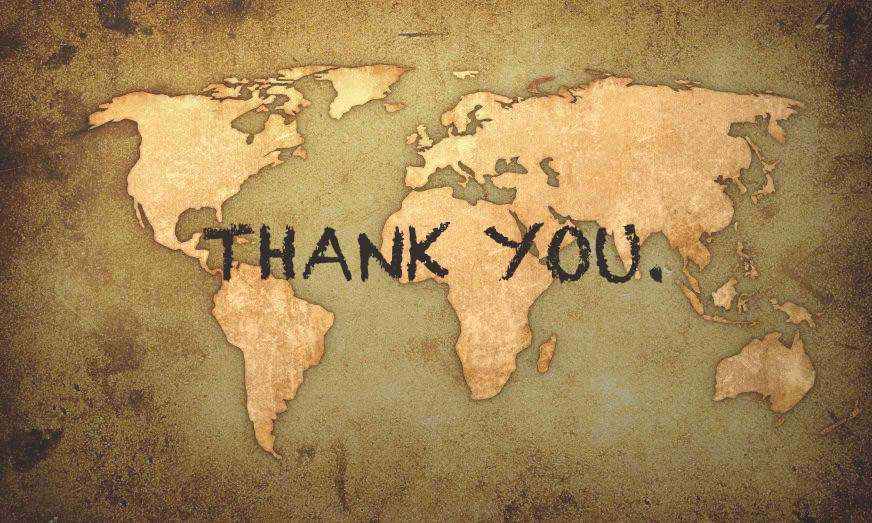 THANK YOU with brown world map background